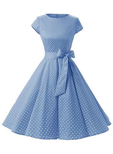 Shangrui Vestido de Mujer Estilo Hepburn 50's de los años 60 Estilo manneron Vestido Vintage Vestido de Lunares