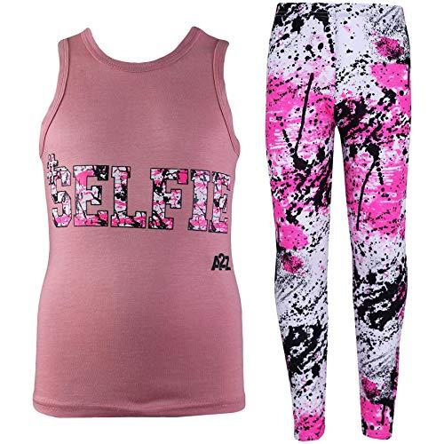 A2z 4 Kids®, Set mit T-Shirt mit LOVE-Aufdruck und Leggings im Flecken-Design für Mädchen im Alter von 7, 8, 9, 10, 11, 12, 13 Jahren Gr. 11-12 Jahre, Selfie Splash Vest Set Baby Pink