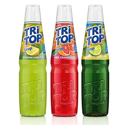 TRi TOP Getränkesirup 3er Set | Pink Grapefruit, Zitrone-Limette, Limette-Minze | 3x600ml [5Liter Erfrischungsgetränk pro Flasche]