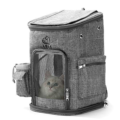 HIPIPET Pet Backpack Carrier for Cats Puppies Small Dogs and Animals Ventilated and Breathable with Treat and Botter Bags Airline Approved(Grey,S)