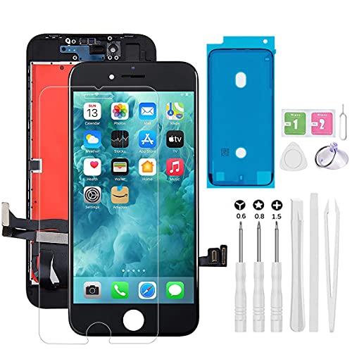 JZMATECH Display Vetro Schermo Compatibile per iPhone 7 Nero, Touch Screen LCD con Strumenti di Riparazione + Strisce adesive + Pellicola Proteggi Schermo per A1660, A1778, A1779 (Nero, 4,7')