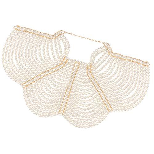 Holibanna Cadena de Perlas para Mujer Cadena Boby Collares de Hombro Elegante Cadena para El Pecho Joyería para El Cuerpo de La Novia (Blanco)