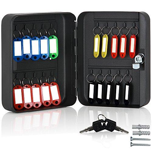 Monzana Schlüsselkasten für 20 Haken inkl. 20 beschreibbaren Schlüsselanhänger Schlüsselbox abschließbar Stahl Key Box