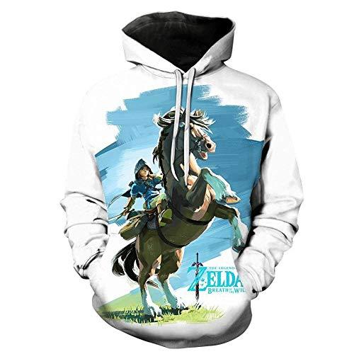 Sudaderas Hombres con Capucha,Anime The Legend of Zelda Hoodie Sudaderas con Capucha 3D para Hombres Jersey Unisex Suéter Deportes Abrigo Oversize Fashion White 4XL