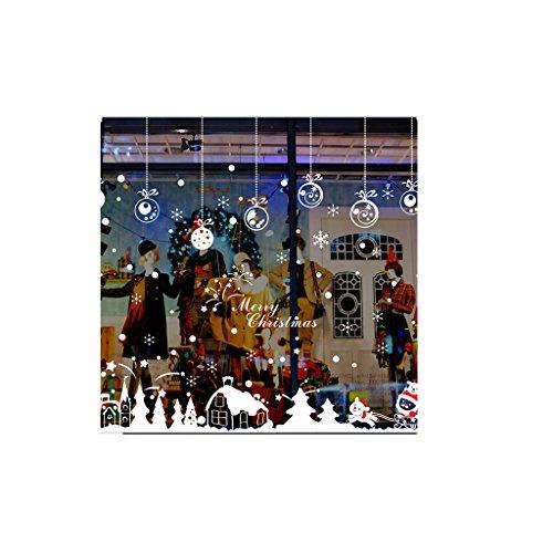 Zarupeng Cabina de Navidad la decoración del hogar de Vinilo Ventana Pegatinas de Pared Decorativosextraíble (Multicolor #1)