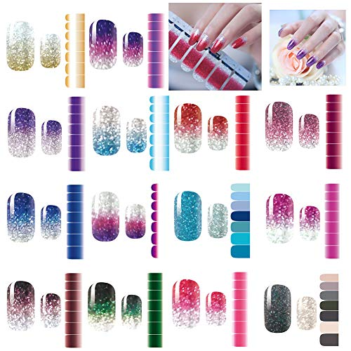 14 Sheets Nail Stickers, Pure color Shine Full Wraps Nail Art Adhesive Decals Nail Art Tips Stickers False Nail Design Manicure Sets