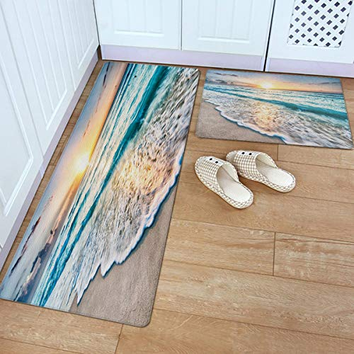 Fantasy Star 2 Piece Leather Kitchen Rug- Tropical Sand Beach Sea Waves Sunrise Seaside Scene Durable Area Rugs Cushioned Anti Fatigue Floor Mat Soft Waterproof Indoor Carpet, 18' x 30' + 18' x 60'