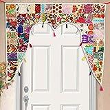 Casa Moro Cortina de puerta india beige 110 x 100 cm (ancho x alto) en diseño de patchwork, cortina para puerta oriental, vintage, toran, cortina para ventana, estilo bohemio, étnico, hippie | MA6206