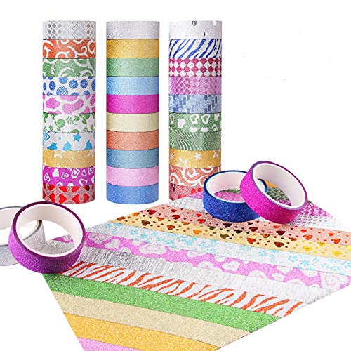 Candygirl Washi Tape Set of 30 Rolls,Decorative Tape for Arts and Crafts, DIY, Scrapbook Decorative, Creative, Re-positional, Multi-Purpose, Masking Tape.
