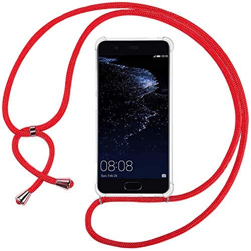 Ingen Funda con Cuerda para Huawei P10 Lite - Carcasa Transparente TPU Suave Silicona Case con Colgante-Rojo