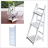 Cozime - Estantería de 3 niveles para jardín o balcón, de madera, plegable, color...