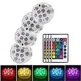 Mookis 4pcs Lucs Sumergibles Luz Led Acuario Impermeable Multicolor LED Piscina Luz Sumergible con Mando a Distancia para Fiesta, Base de Jarrón Navidad...