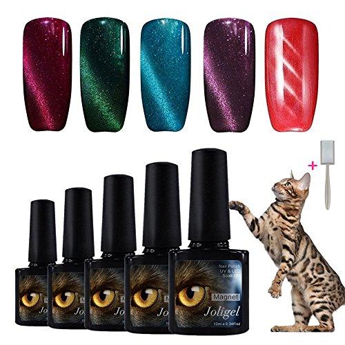 Joligel Elegir 5 Colores Esmaltes Gel 10ML Semipermanentes Magnéticos de Uñas Manicura UV LED Efecto Ojo de Gato Reconstrucción de Uñas Nail Art Set