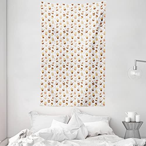 ABAKUHAUS Creme & Weiß Wandteppich & Tagesdecke, Cupcake Rollfondant, aus Weiches Mikrofaser Stoff Dreck abweichender Digitaldruck, 140 x 230 cm, Weiße Creme