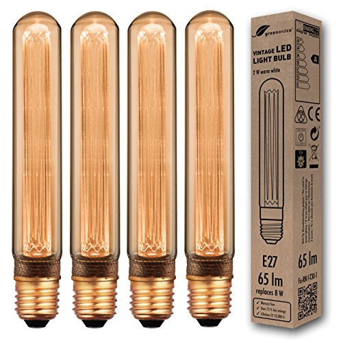 4x greenandco® lampadina a LED di design vintage in stile retrò per l'illuminazione d'atmosfera E27 T30 2W 65lm 1800K (bianco extra caldo) 320° 230V AC vetro, nessun sfarfallio, non dimmerabile