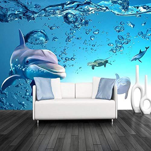 Fototapete Blue Ocean 3D Dolphin Wasserdichte Leinwand Innenwandmalerei Wandtapete Für Kinderzimmer Wohnzimmer Schlafzimmer 200cmx140cm