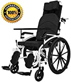 LCAZR Rollstuhl für ältere und behinderte Menschen, Selbstfahren, aus Stahl, Leichtgewicht, Pflegerollstuhl mit Liegefunktion, Beinstütze, Kopfstütze, Sitzbreite 47 cm
