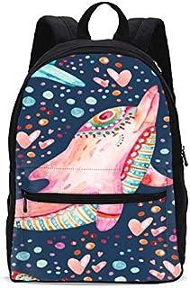 Kids Pink Dolphin Cartoon Backpacks Girls School Bookbag Shoulder Bag 18 Inch Laptop Bag Casual Daypack for 1-5th Grade
