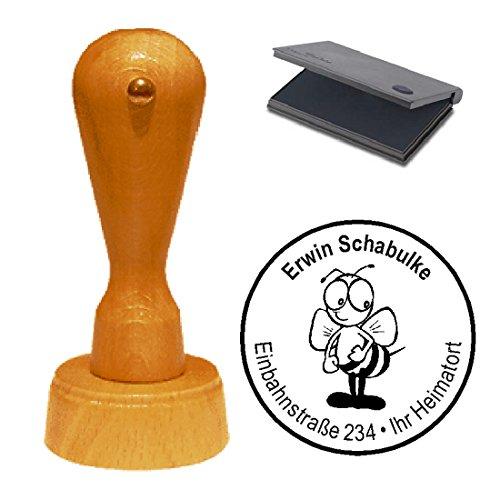 Stempel mit Kissen « LUSTIGE BIENE » Durchmesser ca. Ø 40 mm - mit persönlicher Adresse und Motiv - Adressenstempel Firmenstempel - Insekten Wespe Imker Honig