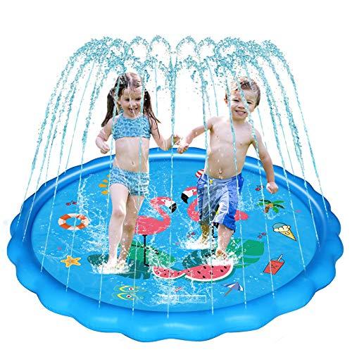 WOWGO Splash Pad, 170cm Sprinkler Play Matte, Wasserspielzeug Spielmatte Sommer Outdoor Garten Spielzeug für Kinder