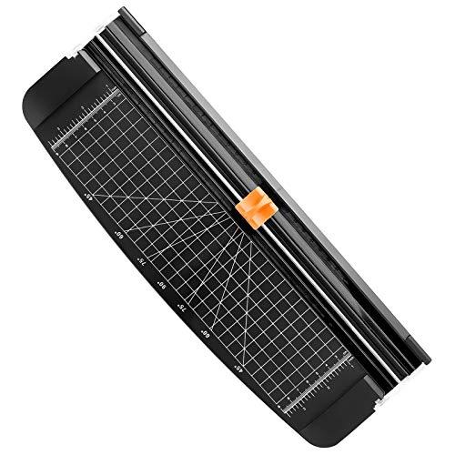 Firbon Papierschneidemaschine A4 12 Zoll Papierschneidemaschine mit automatischer Sicherheitsüberwachung Guillotine und Seitenlineal für Gutschein, Bastelpapier, Etikett und Foto (Schwarz-1)