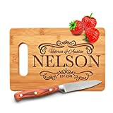 Personalized Cutting Board - 9 Designs |6' x 9'| Bamboo Cutting Board - Wedding Gifts for the Couple, Housewarming Gifts, Anniversary Gift, Grandma Gifts, Engraved Kitchen Sign & Decor - Handle