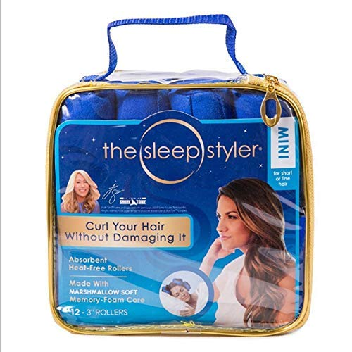 The Sleep Styler - As Seen on Shark Tank - Heat Free Curlers. Includes 8 Mini (3 Inch) Rollers (Blue)