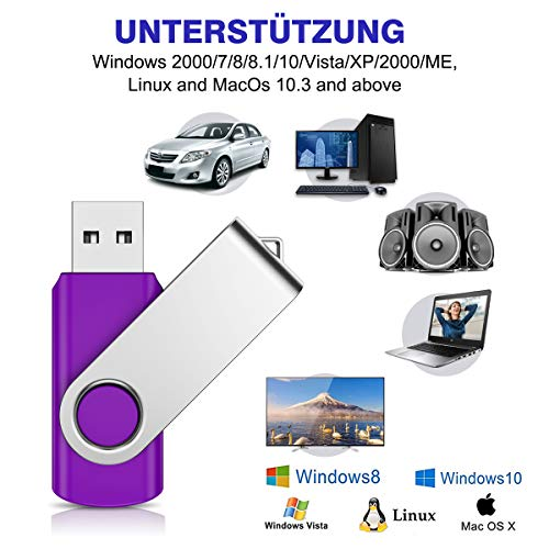 8GB USB Stick 5 Stück Speicherstick USB 2.0 Flash Laufwerk Pen Drive Thumb Drive Data Datenspeicher Mehrfarbig mit 5 Bändche (5 Farbe)