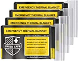 Emergency Mylar Thermal Blankets (4-Pack) + Bonus Signature Gold Foil Space Blanket: Designed for NASA, Outdoors, Hiking, Survival, Marathons or First Aid (Double Color Sides: Matte Black & Gold)