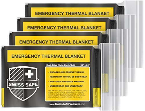 Swiss Safe Emergency Mylar Thermal Blankets + Bonus Gold Foil Space Blanket. Designed for NASA, Outdoors, Survival, First Aid, Double-Sided Black and Gold, 4 Pack
