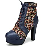 SaraIris Women's Chunky High Heels Ankle Boots Platform Booties Round Toe Winter Autumn Lace-up Short Boots