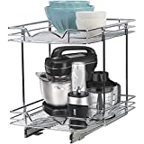 Richards Homewares Pull Out Drawer Organizer Double Sliding Shelves 2 Tier Shelf-15.35' W x 21' D x 17-3/4'H, Requires at Least 16' Cabinet Opening, Chrome Finish Heavy Duty Wire Frame