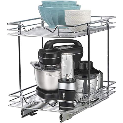 Richards Homewares Pull Out Drawer Organizer Double Sliding Shelves 2 Tier Shelf-1535 W x 21 D x 17-34H Requires at Least 16 Cabinet Opening Chrome Finish Heavy Duty Wire Frame
