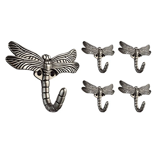 Franklin Brass B46145M-BSP-C Dragonfly Hook, 5 Pack, Brushed Satin Pewter