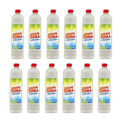 Natural 12 Pezzi Brill di ACETO di Alcol PULITORE LUCIDANTE Multiuso - VETRI - Acciaio - Pavimenti 1 LT [ 12 LT ]