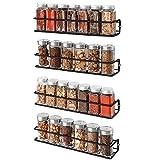 VIDOR Especiero de Cocina Autoadhesivo,Set 4 Estantes Cocina de Metal Organizador por Armario Despensero,Armario,Refrigerador,Estantería de Baño,33,5 x 7,5 x 5,2 cm,Negro