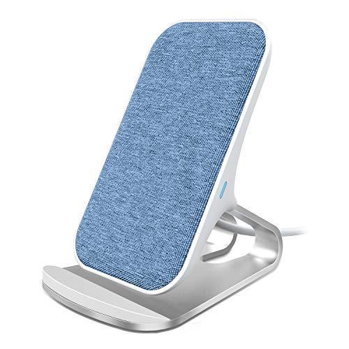 Lecone Fast Wireless Charger, 10W Kabellose Ladeständer aus Textil-Stoffe Kompatibel mit iPhone 11/ XR/XS/XS Max/X/8/SE 2020 und Samsung Galaxy S20/S10/S10+/S9/S9+ Note10 usw,Blau