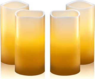 """Hayley Cherie - Real Wax Flameless Candles with Timer (Set of 4) - Ivory LED Candles 3"""" Wide x 6"""" Tall - Flickering Amber Flame - Battery Operated Pillar Candles - Large Unscented"""