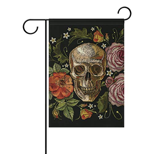Polyester Garden Drapeau foncé Style Gothique Evilrose Tête de Mort Halloween Bannière 30,5 x 45,7 cm pour extérieur Home Garden Pot de Fleurs Décor fête Maison Drapeau 28x40(in) Multicolore