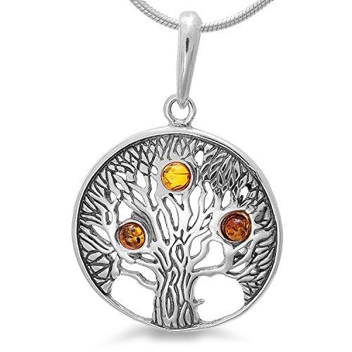 Antike Style Bernsteinschmuck Lebensbaum Kettennhänger Silber 925 mit Bernstein, Amulett Baum des Lebens Weltbaum Tree of Life #b1290