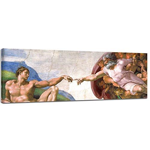 Wandbild Michelangelo Die Erschaffung Adams - 90x30cm Panorama quer - Alte Meister Berühmte Gemälde Leinwandbild Kunstdruck Bild auf Leinwand