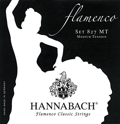 Hannabach Cuerdas Para Guitarra Clasica, Serie 827 Tension Media Flamenco Classic - Juego 3 Cuerdas Graves Re4+La5+Mi6