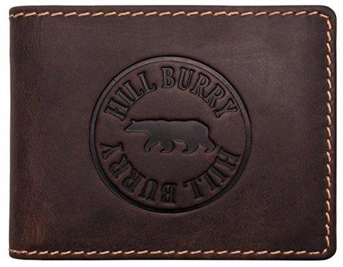Hill Burry Geldbörse Leder Herren | Männer Portemonnaie aus echtem Leder | Großes Portmonee mit RFID Schutz | Vintage Geldbeutel mit Münzfach (Dunkel Braun)