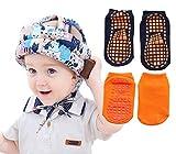 MAZOR Baby Safety Helmet Head Protector + 2 Pairs Antislip Socks - Safety Helmet Adjustable Protector Toddler Kids Infant Helmet Headguard Baby Hat Infant Toddler Bumper Baby Cap Cushion (Cat Orange)