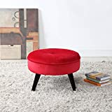 Divano Roma Furniture Round Tufted Velvet Footrest, Footstool, Coffee Table   Red Small/Large Space Home and Living Room, Circular Foot Rest/Stool/Ottoman