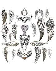 iloveDIYbeads 42pcs Craft Supplies Antique Silver Feather Angel Wings Charms Pendants for Crafting, Jewelry Findings Making Accessory for DIY Necklace Bracelet (M185)