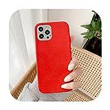 Happy-horse Nueva funda de terciopelo de microfibra para iPhone 12Pro 12 Mini 11 pro Max cubierta suave para iPhone X XR XS Max 7 8 Plus Fundas de teléfono rojo-para iPhone 11