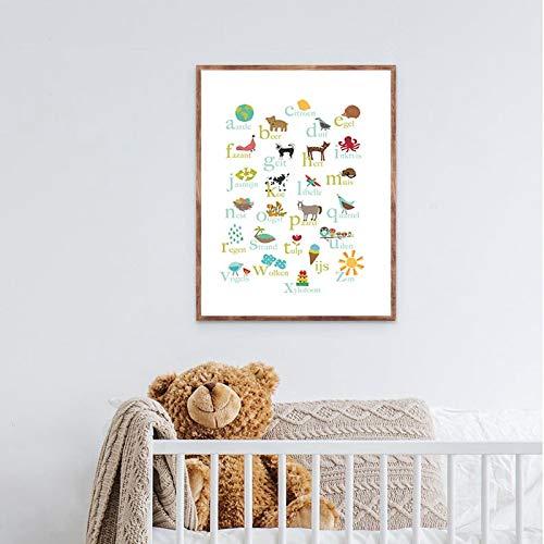 """Impresiones en lienzo del alfabeto Cuadro educativo de arte de pared Animales del bosque con letras ABC Póster Decoración infantil 15.7 """"x23.6"""" / 40x60cm Sin marco"""