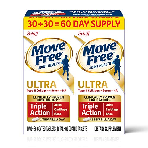 Type II Collagen, Boron & HA Ultra Triple Action Tablets, Move Free (60Count in a value Pack), Joint Health Supplement With Just 1 Tiny Pillper Day To Promote Joint, Cartilage & Bone Health