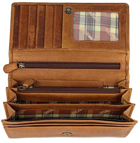 Hill Burry hochwertige Vintage Leder Damen Geldbörse Portemonnaie langes Portmonee Geldbeutel aus weichem Leder in braun - 17,5x10x3cm (B x H x T)